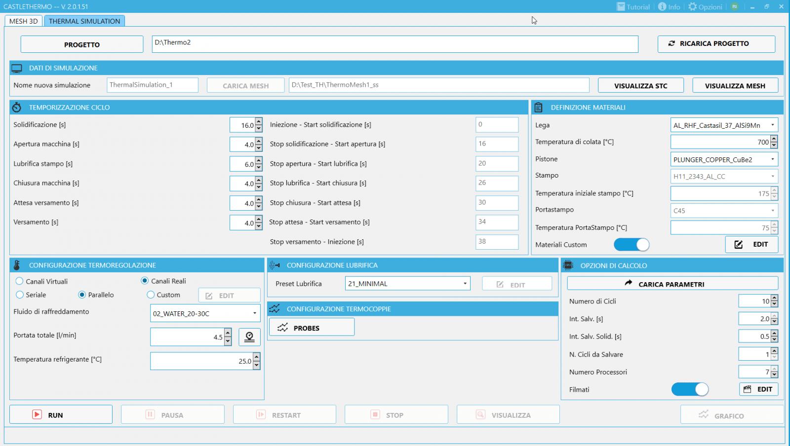 CastleTHERMO: Interfaccia user-friendly